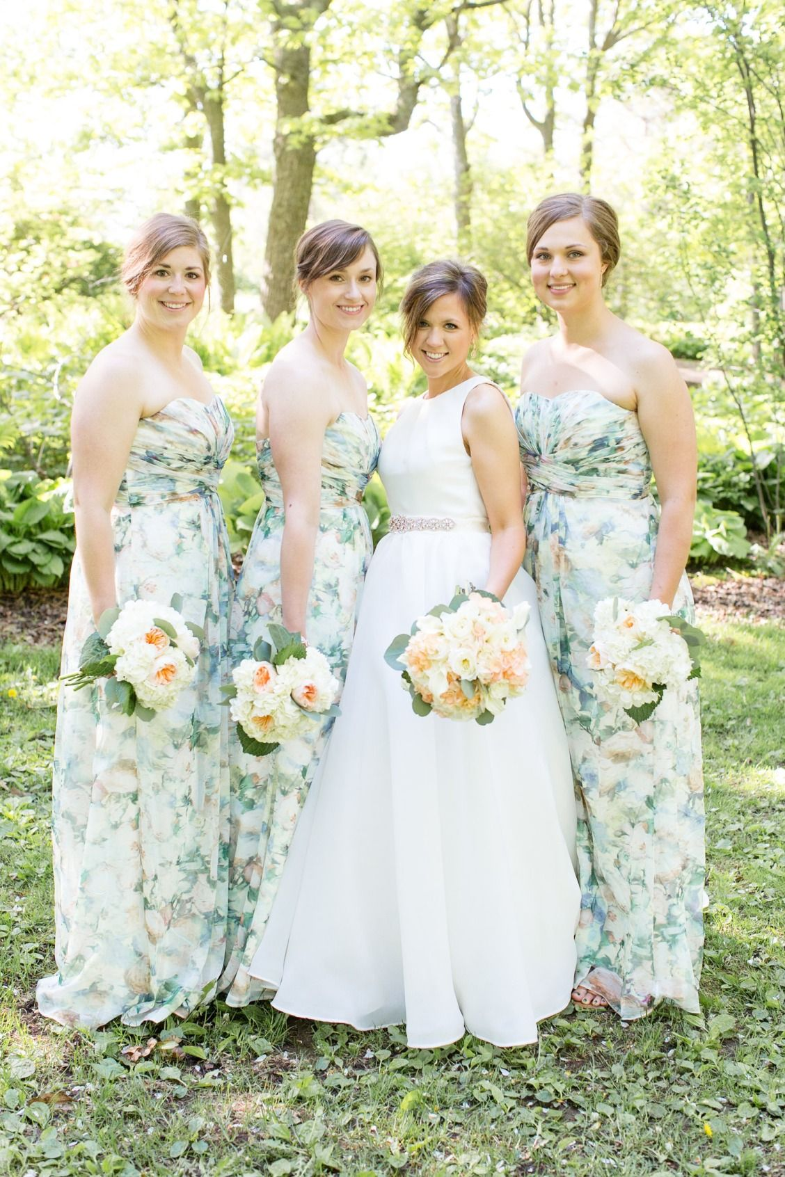 Pretty in prints bridesmaids these long chiffon green floral pretty in prints bridesmaids these long chiffon green floral print strapless bridesmaid dresses are perfect ombrellifo Choice Image