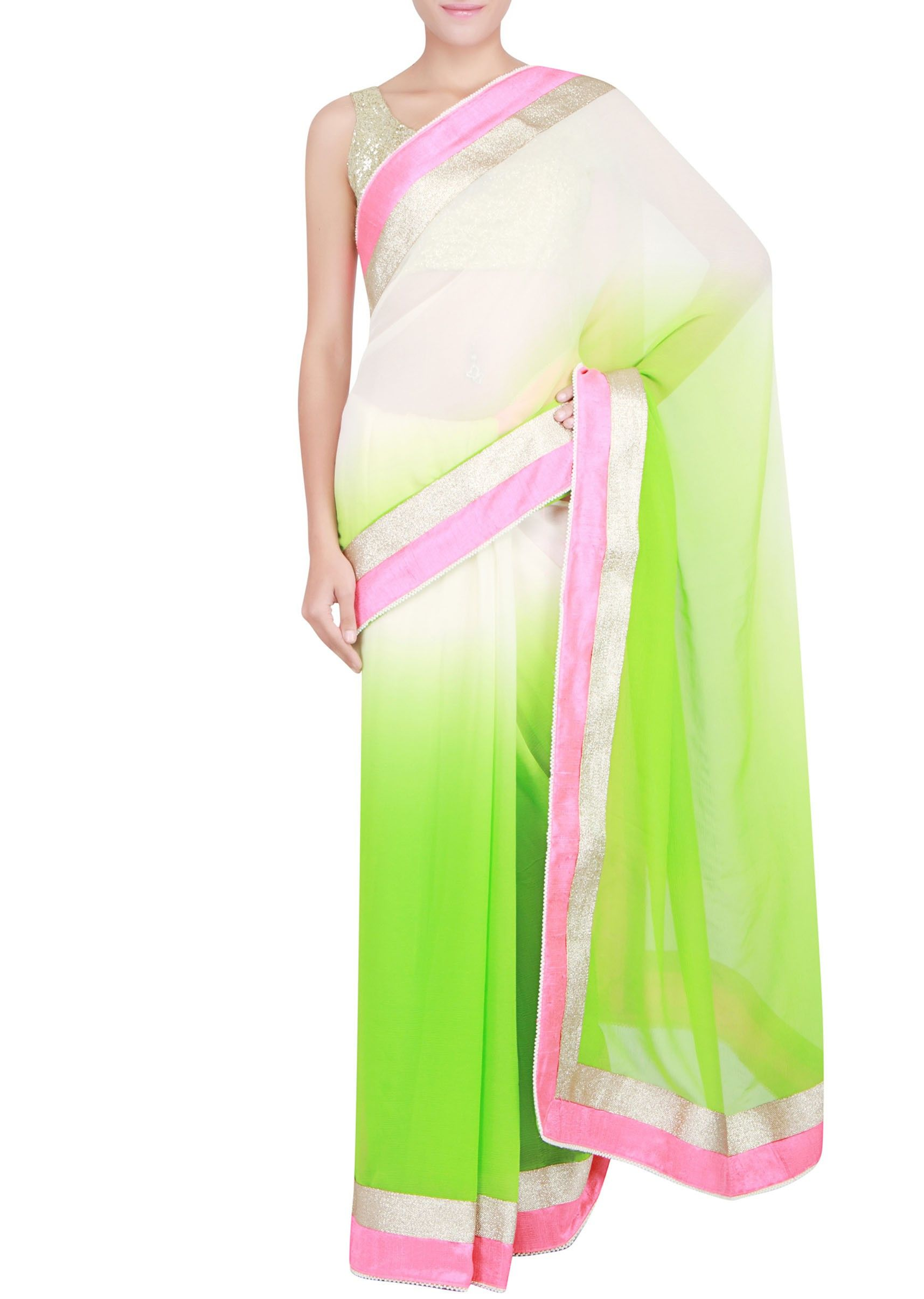 Green and off white shaded saree embellished in lurex border only on Kalki