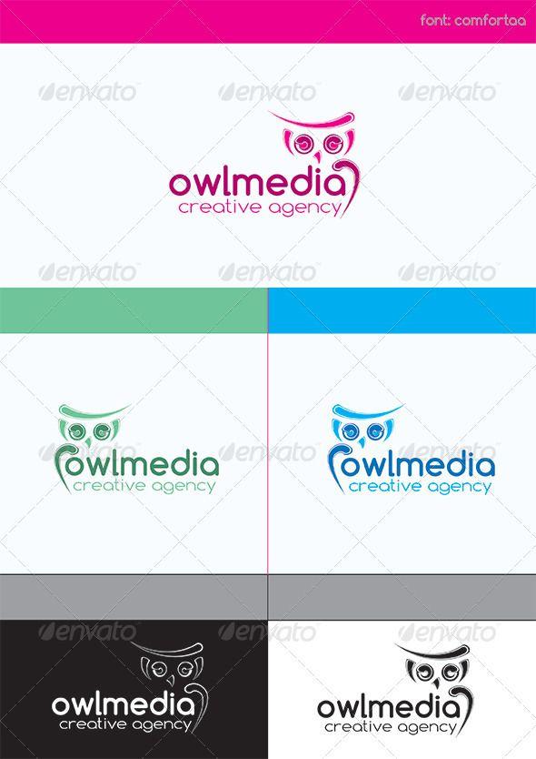 Owl Media Creative Agency Logo Design Template Vector #logotype Download it here: http://graphicriver.net/item/owl-media-creative-agency/4028378?s_rank=466?ref=nexion
