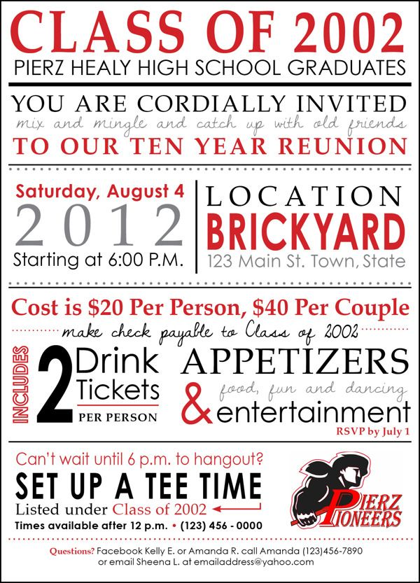Highschool Reunion Invitation By Kelly Barbot Via Behance