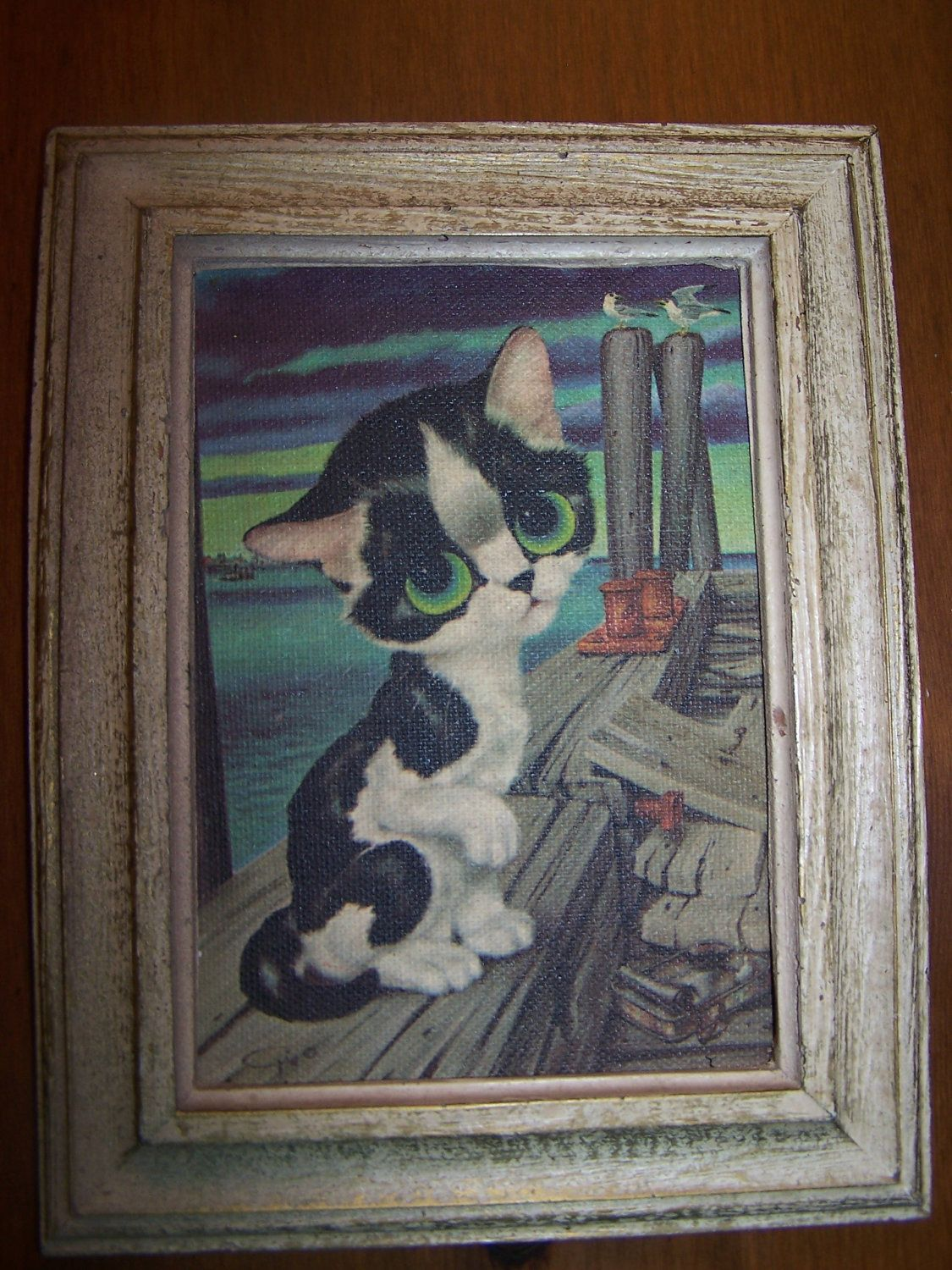 Vintage 1960s Big Eyed Cat by Gig Framed Print Kitty Kitten