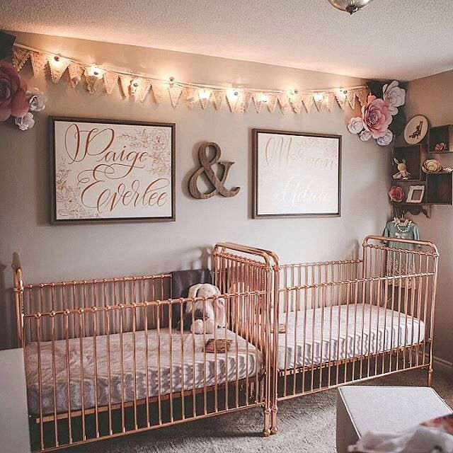 Double the rose gold love in this sweet twins nursery from for Best baby cribs for small spaces