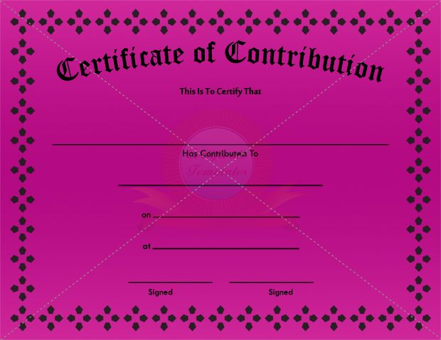 Contribution Certificate Template CONTRIBUTION CERTIFICATE - donation certificate template