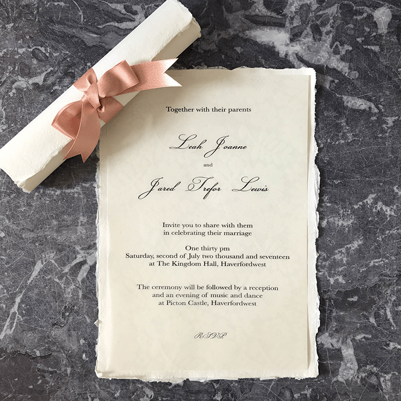 Easy DIY Wedding Invitation. Make Your Own Invitation Scroll With Ribbon  And Handmade Paper.
