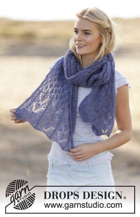 "Estola rendada DROPS, em ""Brushed Alpaca Silk"". ~ DROPS Design ..."