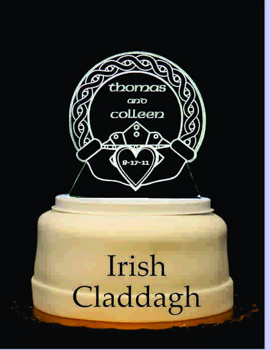 Celtic Claddaugh Lighted Wedding Cake Topper Acrylic Cake top Personalized Engraved