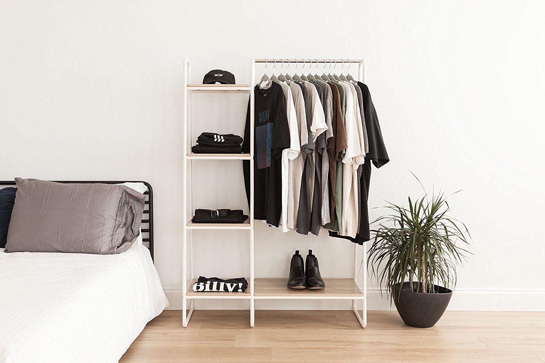 fabf395de16 Amazon.com  IRIS Metal Garment Rack with Wood Shelves