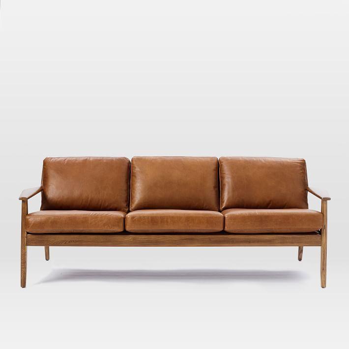 Mathias Mid Century Wood Frame Leather Sofa Sofa Wood Frame Wooden Sofa Set Designs Wood Frame Couch