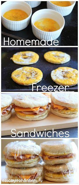 Homemade Freezer Breakfast Sandwiches by eatcakefordinner.blogspot.com