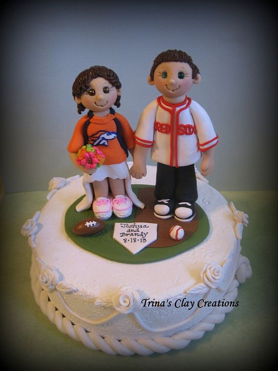 Wedding Cake Topper Custom Bride And Groom Sports Theme Football