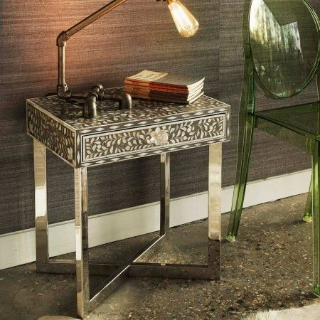 Pondicherry Mother Of Pearl Side Table In Grey Side Table Table