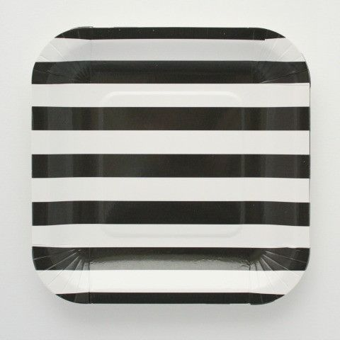 Candy striped paper plates.These stylish square paper party plates are perfect to decorate your  sc 1 st  Pinterest : black and white chevron paper plates - pezcame.com
