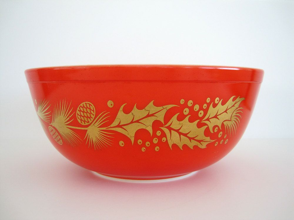 Vintage Pyrex Bowl Christmas Holiday Golden Leaf Mixing Nesting 404 ...