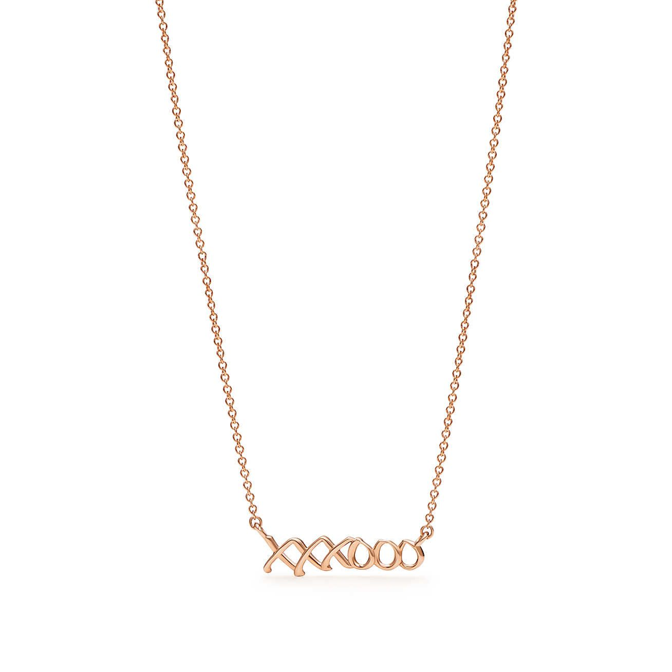 Paloma 39 S Graffiti Love Amp Kisses Pendant In 18k Rose Gold Mini Jewelry Showcases Diamond Drop Necklace Tiffany Jewelry