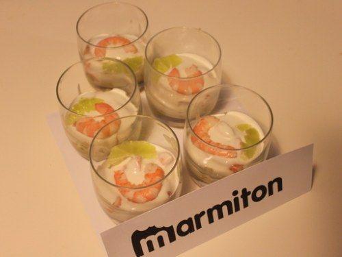 Mini-verrines apéritives écrevisse ananas et crème de coco