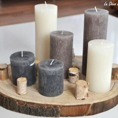 Disque de bouleau porte-bougies avec six bougies comprises