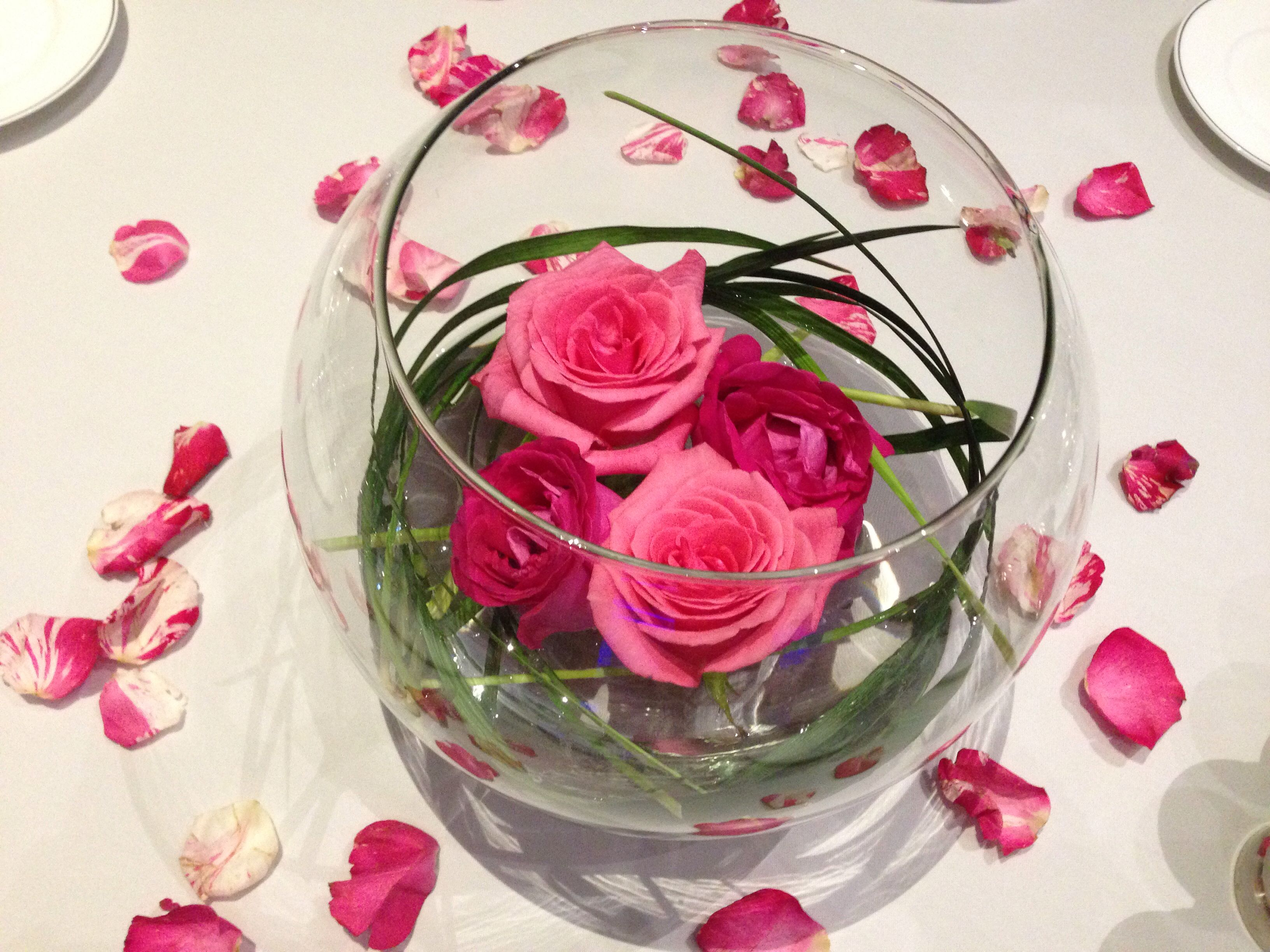 Roses and fish bowl centerpiece my work pinterest
