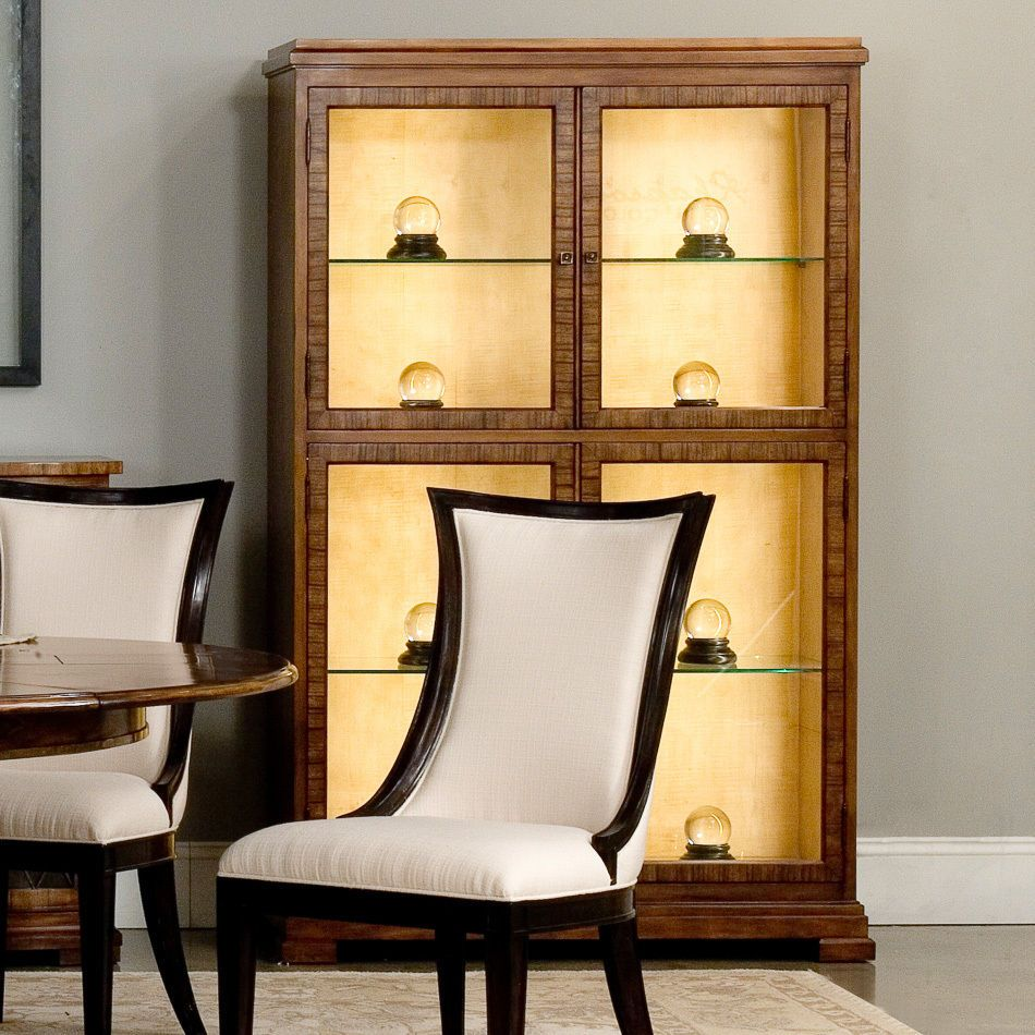 Curio Cabinet Walnut Overlay on Hardwood Handmade Lighted Glass Door Shelves New #Transitional