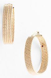Roberto Coin Wide Ribbed Gold Hoop Earrings