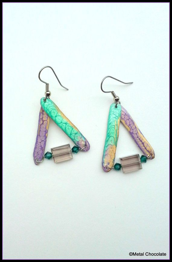 Shimmering Green Gold and Purple Triangles w/ by MetalChocolate