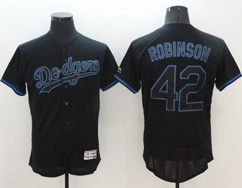 Dodgers  42 Jackie Robinson Black Fashion Flexbase Authentic Collection  Stitched MLB Jersey 5552e4428be