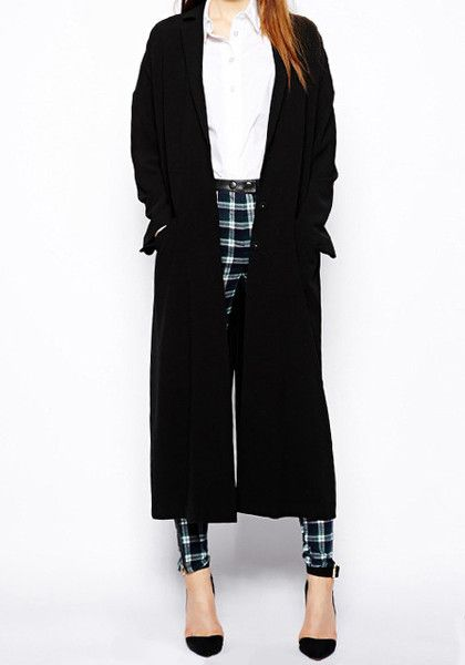 Black Textured Trench Coat- With Patched Pockets