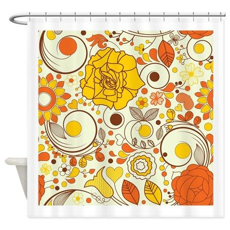 70s Autumn Floral Print Shower Curtain By Suburbangypsy With