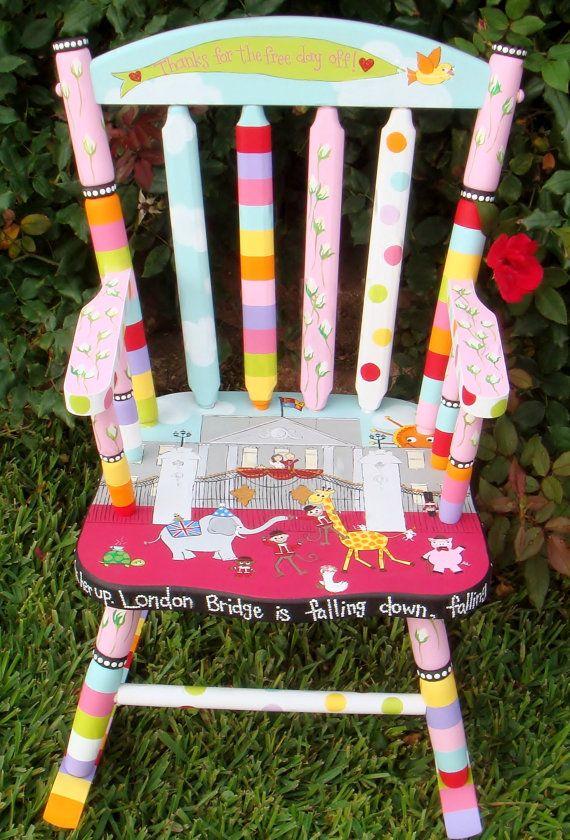 Personlaized Kids Rocker Custom Painted Rocking Chair For Etsy Painted Rocking Chairs Painted Chairs Kids Rocking Chair