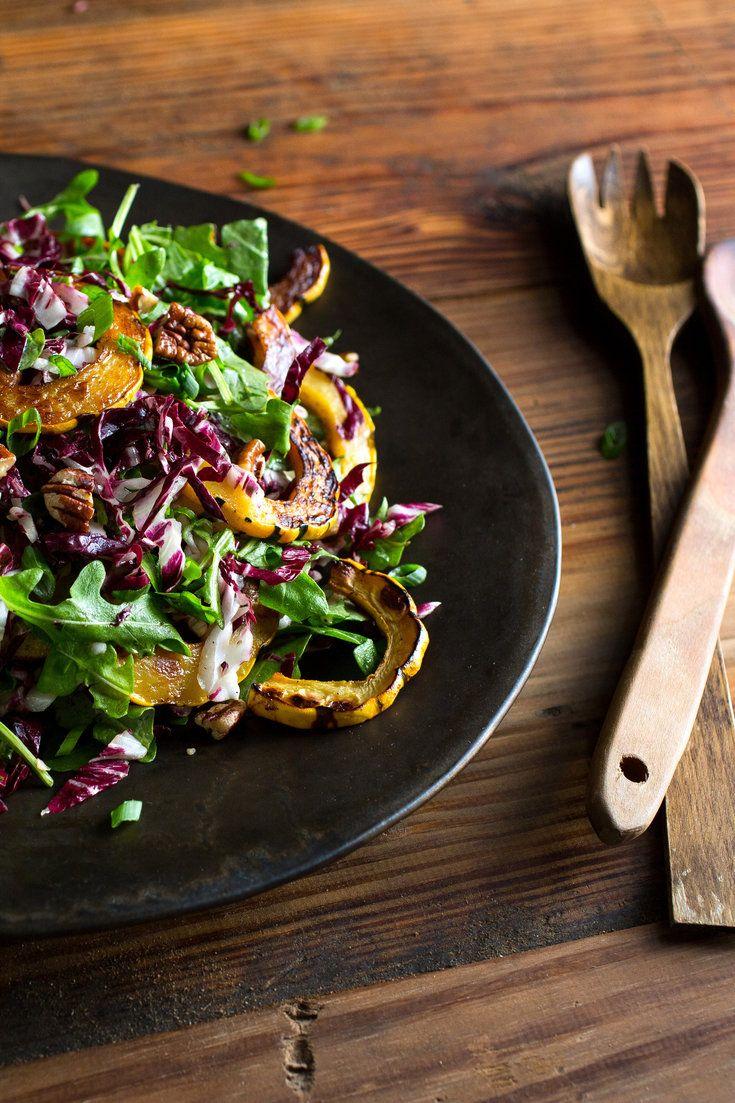 Roasted Squash And Radicchio Salad With Buttermilk Dressing Recipe Recipe Recipes Radicchio Salad Roasted Squash