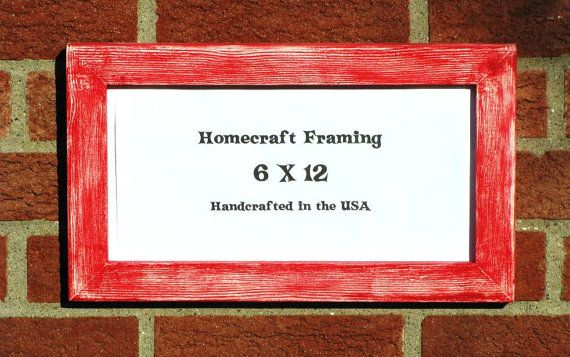 6x12 Picture Frame Distressed Red White By Homecraftframing Frames