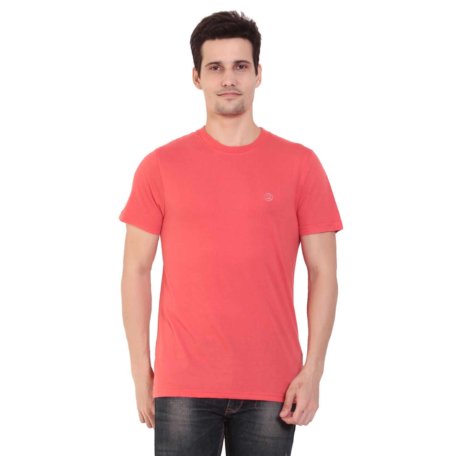d8a727e7 Half Sleeves Solid Plain Round Neck Peach T-Shirt. Use Coupon CHK20 and get  20% #Discount on #OnlineShopping #RoundNeckTShirt #MenTshirts #TShirtsOnline