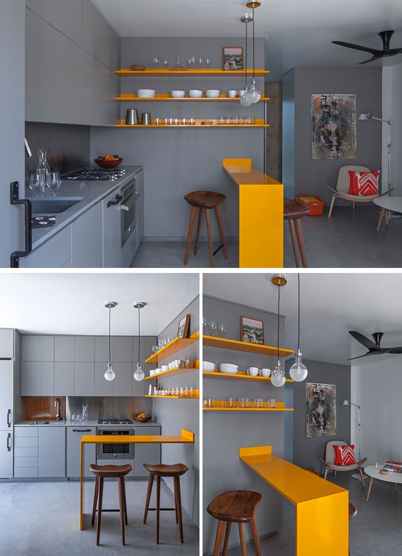 Best A Micro Apartment With A Grey And Yellow Color Palette 400 x 300