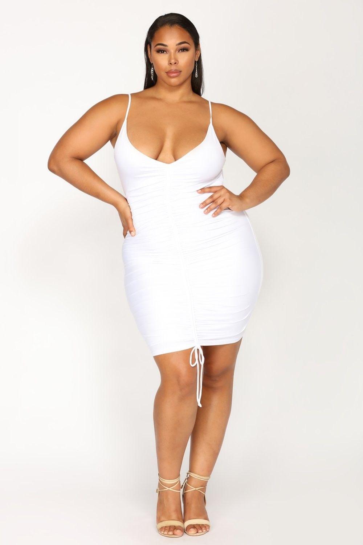 Plus Size Shanghai Ruched Dress - White $19.99 #fashion #ootd ...