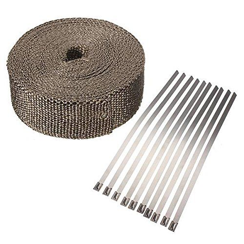 "2/"" 10M Exhaust Pipe Header Wrap Tape 6 Ties Kit Fiberglass Heat Car Motorcycle"