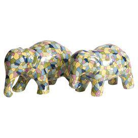 2-Piece Lila Elephant Statuette Set