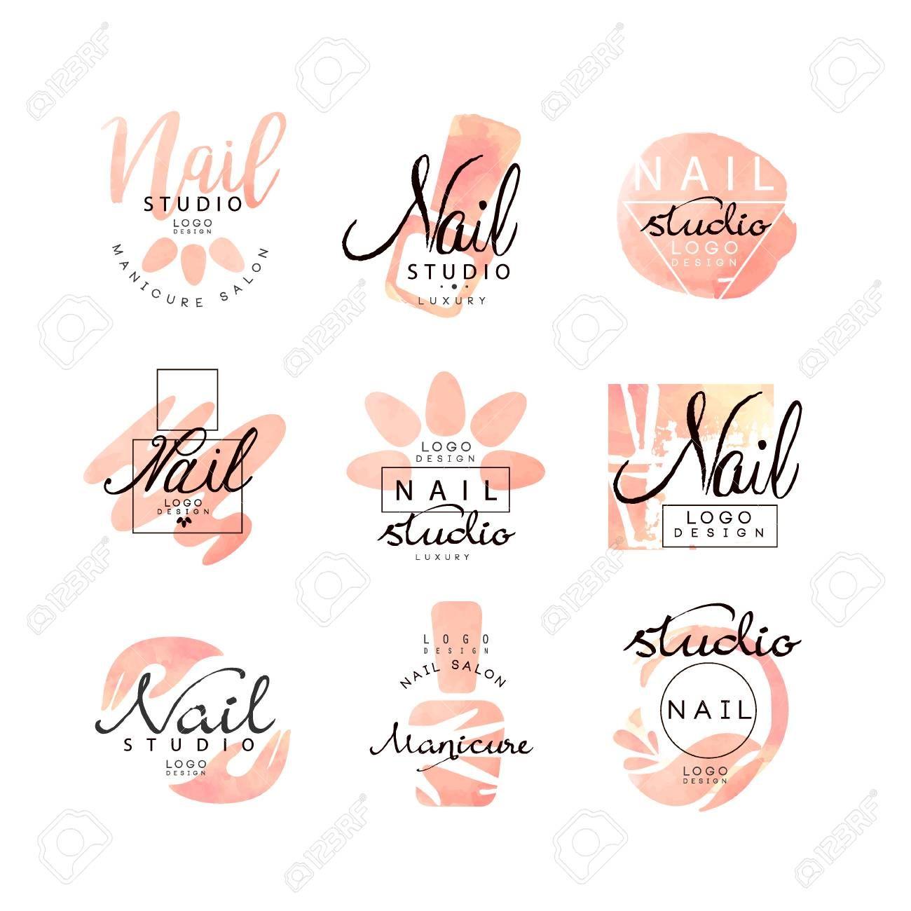 Manicure nail studio design set, creative templates for