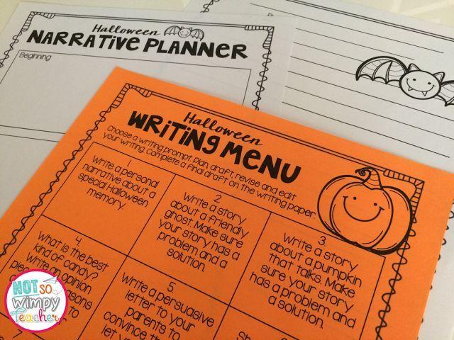 FREE Halloween Writing Menu Writing paper, Graphic organizers and Menu - halloween writing ideas