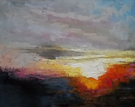 Abstract Landscape, God's Glory by Carol Schiff, 14x18 Oil ...