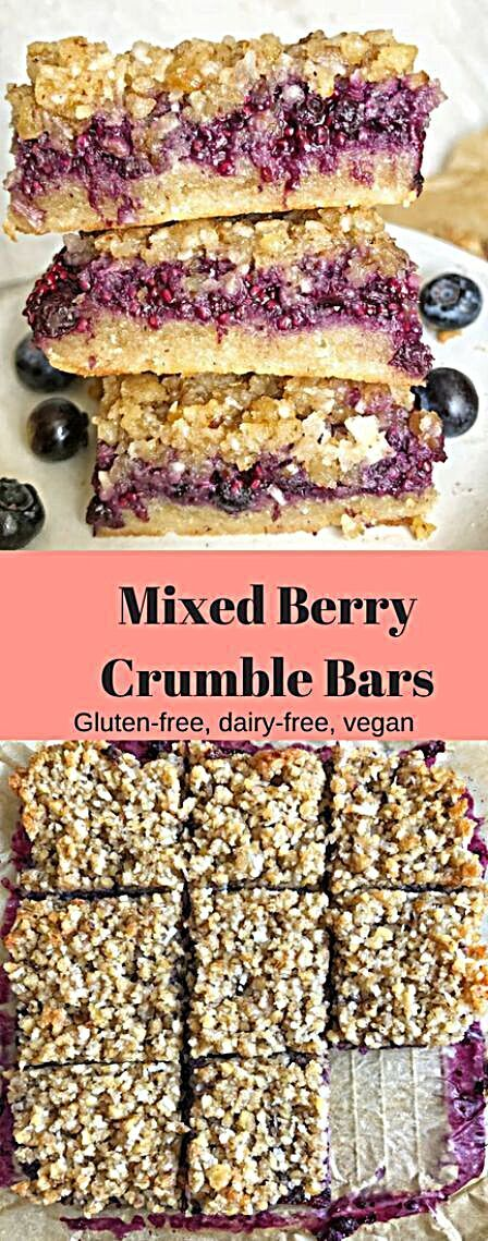 Berry Crumble Bars (Gluten-free, dairy-free, vegan