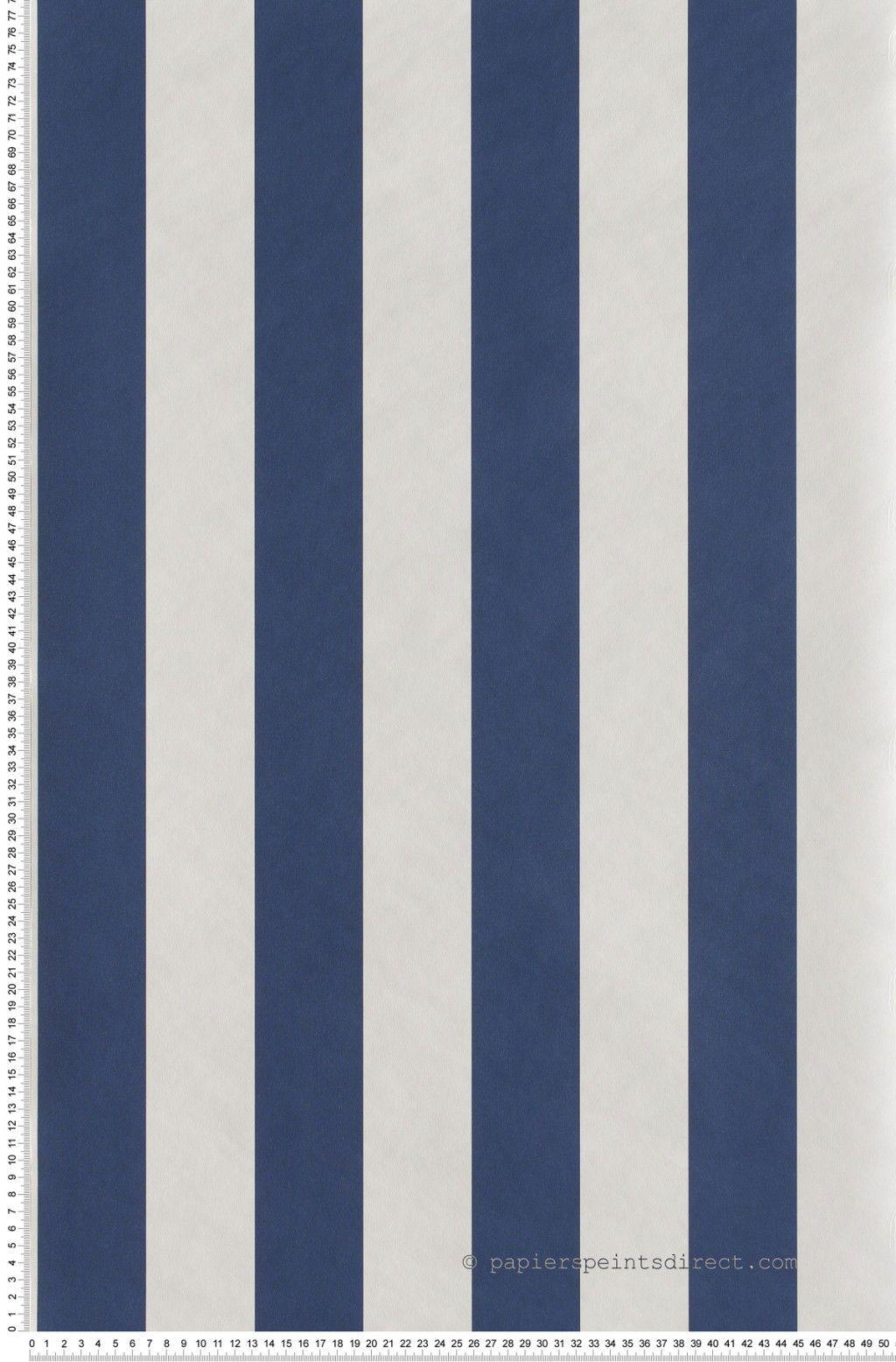 Papier Peint Deco Marine rayures larges bicolores bleu marine et blanc - papier peint