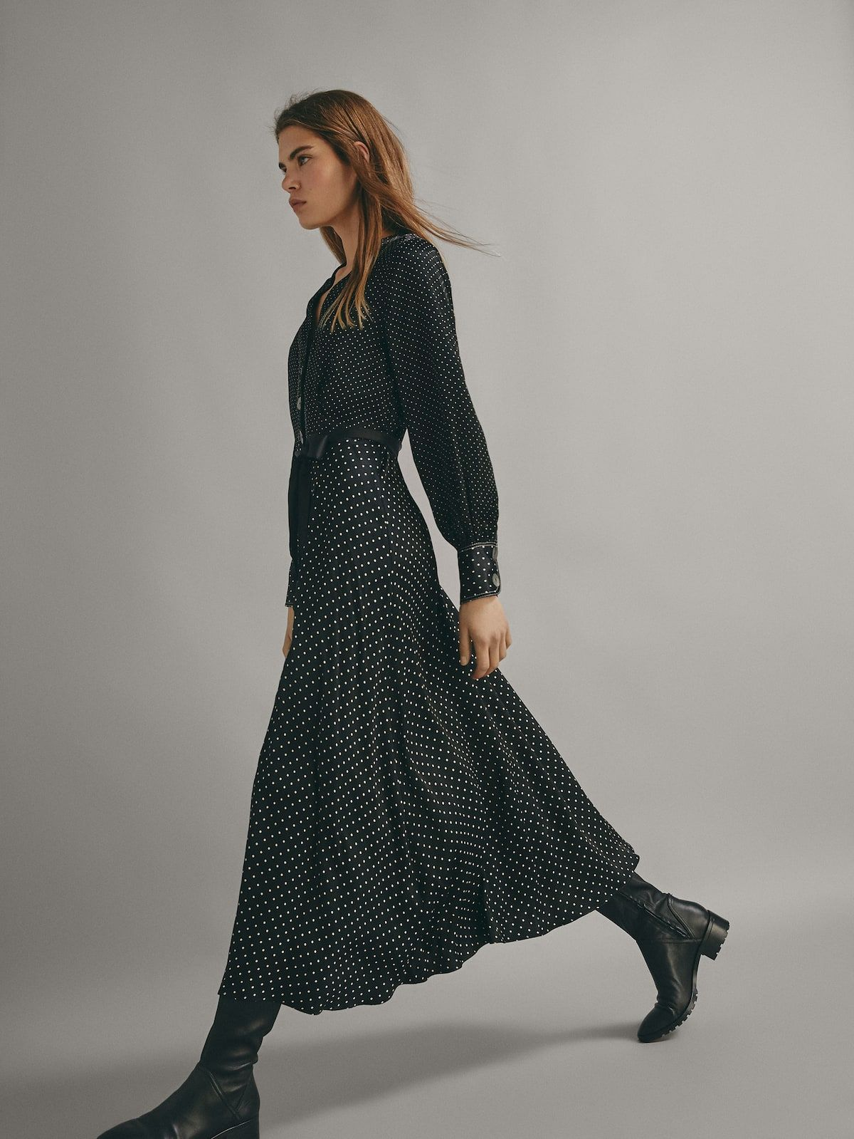 582071ebeaf POLKA DOT PRINT DRESS WITH TIE BELT - Women - Massimo Dutti