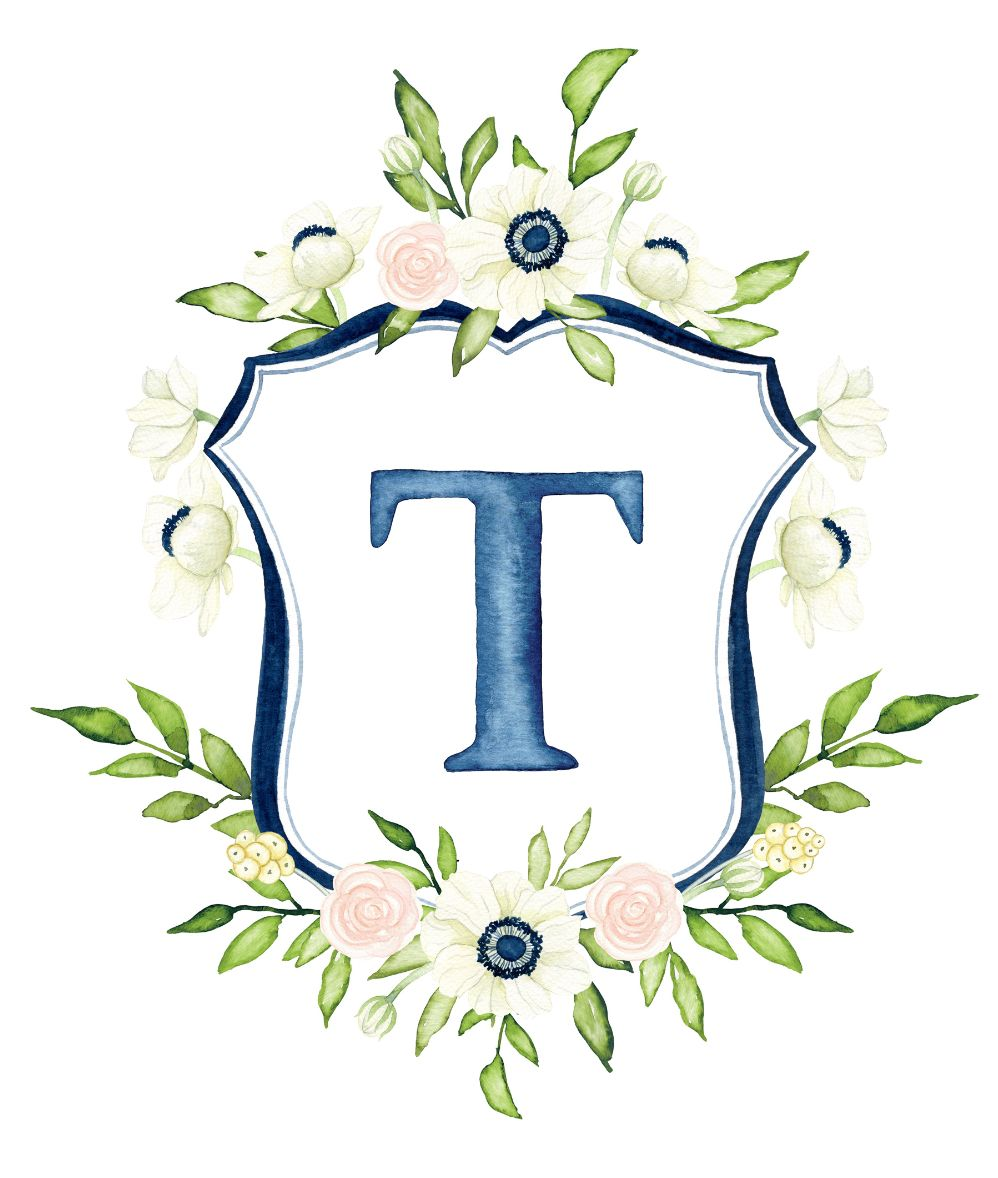 Custom Watercolor Wedding Crest Hand Painted Heraldry
