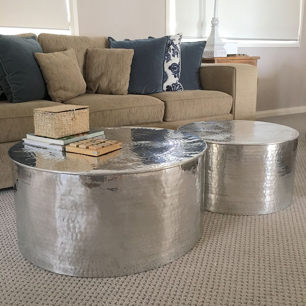 Handmade Silver Coffee Tables Set Of 2 Handmade Coffee Table