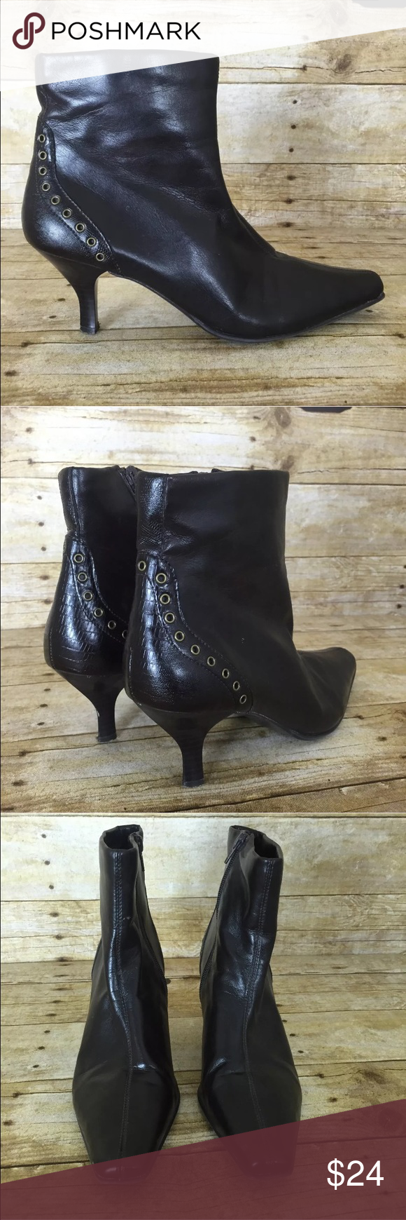 6d8f764d836f3 Liz Claiborne Flex Lucent Brown Ankle Boot Liz Claiborne Flex Lucent Brown Ankle  Boot Side Zipper