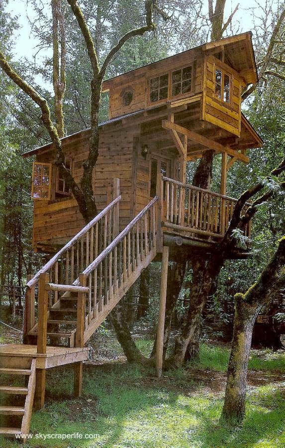Casa del rbol tipo caba a de madera con acceso por for Modelos de cabanas rusticas