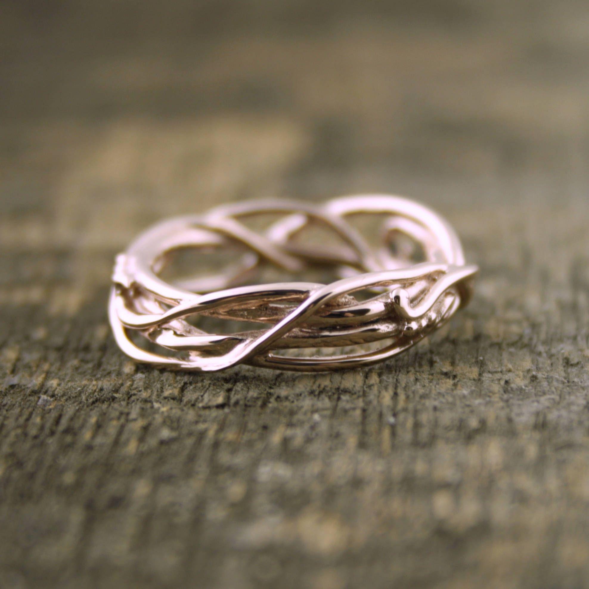 14kt Rose Gold Elvin Flowanic Whimsical Engagement Ring Wedding Band, Anic Band, Twig Rings, Vine Ring, Goddess Ring, Branch Ring