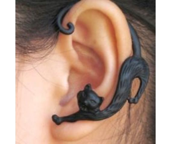 Black Cat Ear Cuff-Earrings