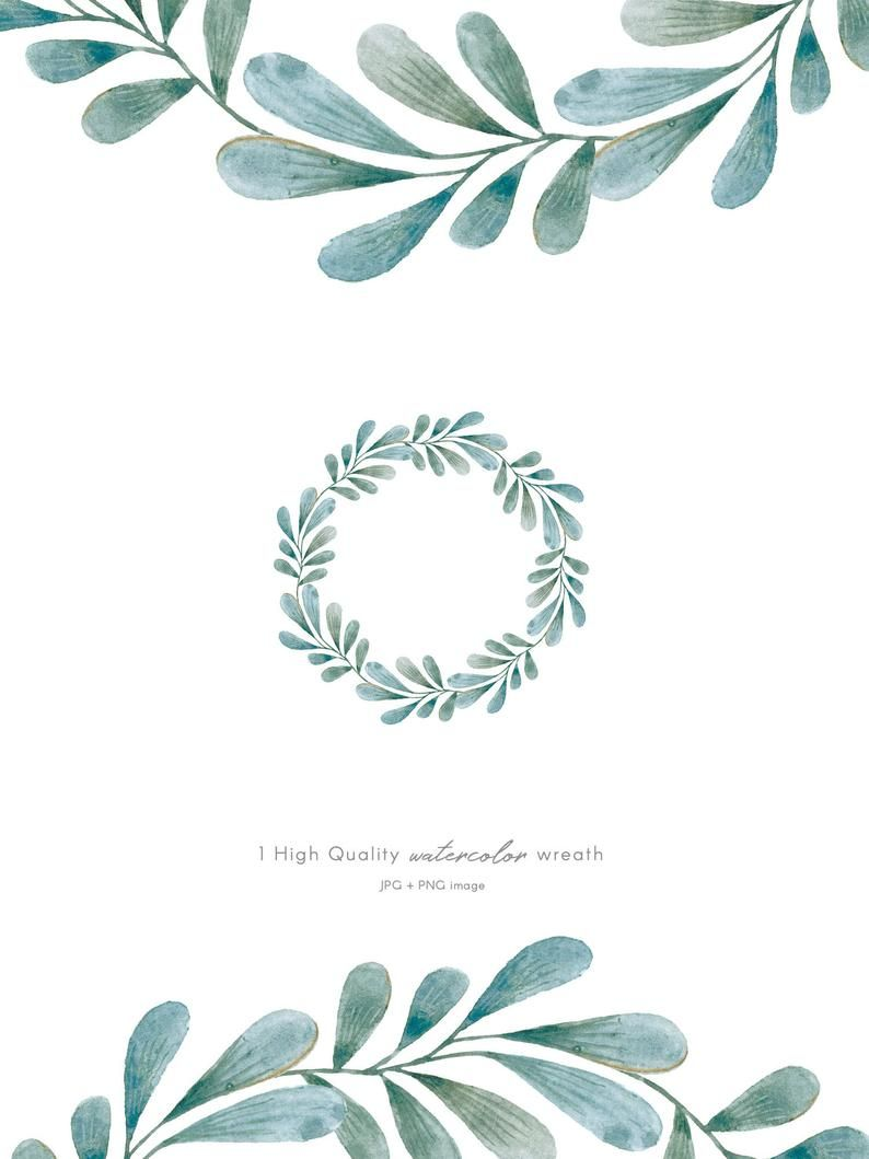 Blue Leaves Watercolor Wreath Clipart Hand Painted Wedding Laurel