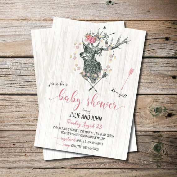 Boho Chic Baby Shower Invitations, Hunter, Antler, Baby Shower, Couples Baby Shower, Baby Girl, Printable Invites, Instant Download  This listing is for a PRINTABLE one-sided Baby Shower invitation for you to print at home or print through a print shop. This card comes as 4x6 or 5x7. *Let me know if you want a different color font, I can change it for you at no additional charge.   Everything is sent through email only for you to print yourself. Nothing will be shipped to you, so no more…