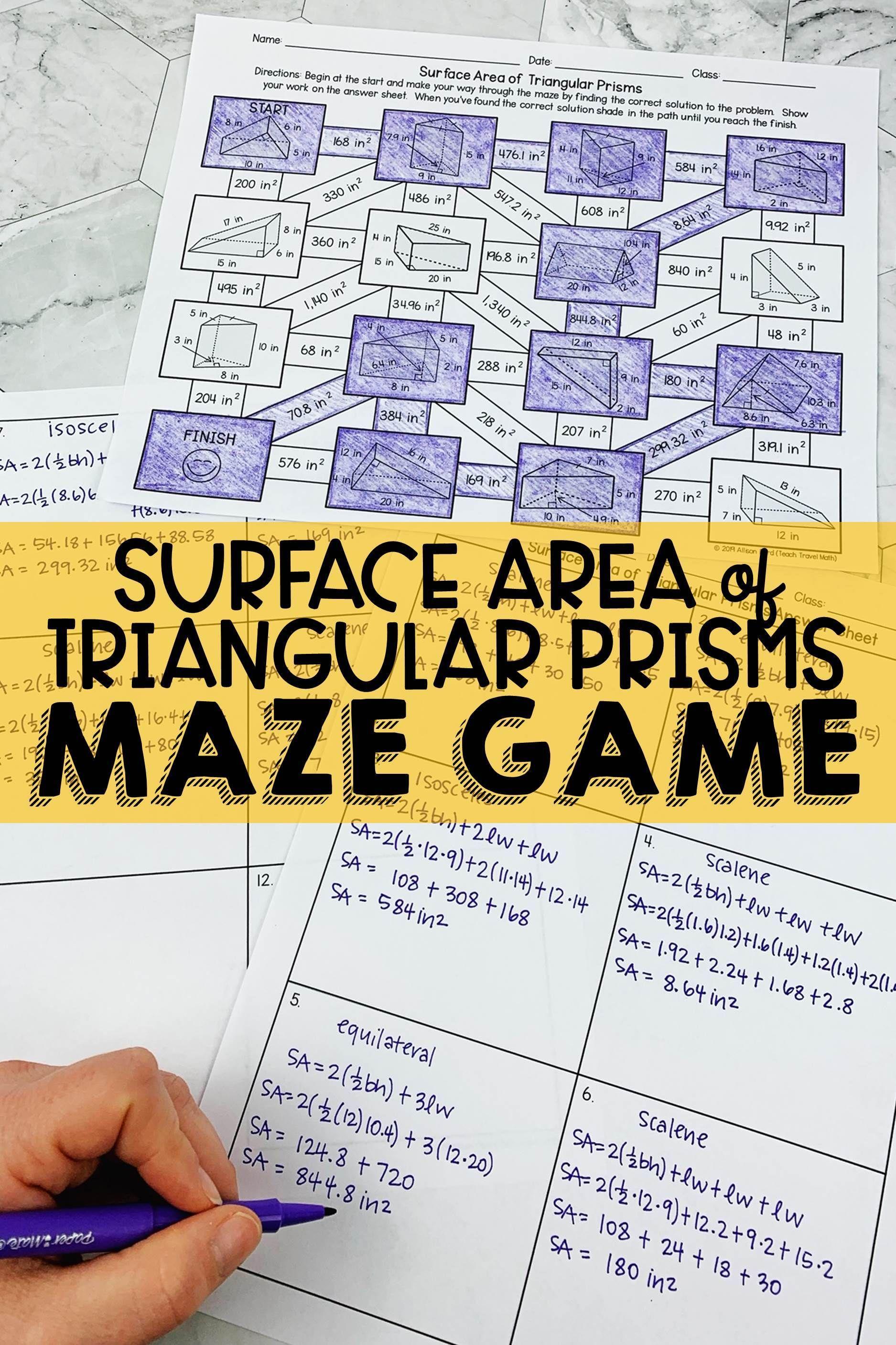 Surface Area Of Triangular Prisms Maze